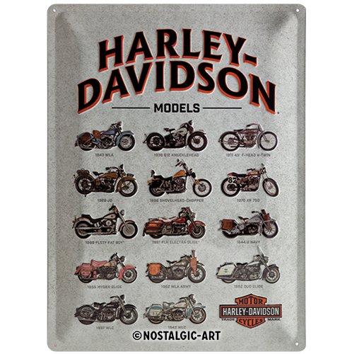 Nostalgic-Art Harley-Davidson – Model Chart – Geschenk-Idee für Motorrad-Fans, Retro Blechschild, aus Metall, Vintage-Dekoration, 30 x 40 cm