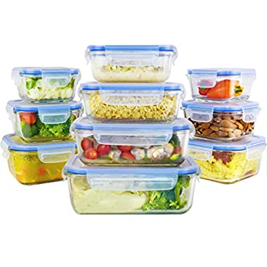 Zestkit ZK-CS11 Glass Food Storage Containers Set with Airtight Lids & Free Ice Pack, Transparent