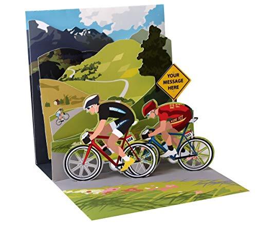 PopShots Studios Pop Up 3D Karte Geburtstag Grußkarte Fahrrad Tour Berge 13x13cm
