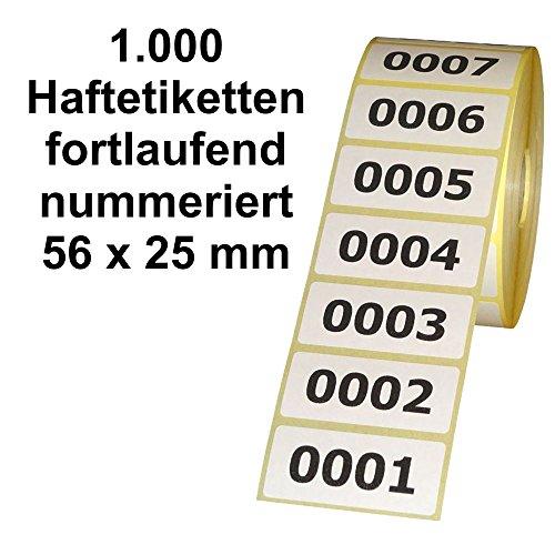 1.000 Etiketten / Aufkleber auf Rolle - fortlaufend nummeriert - 56 x 25 mm
