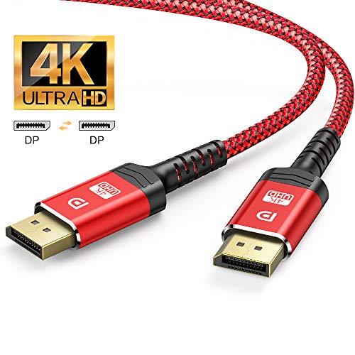4K DisplayPort Kabel 3M - DisplayPort auf DisplayPort Kabel(4K@60Hz, 2K@144Hz) Nylon Geflecht DP zu DP Kabel Ultra High Speed Display Port Kabel unterstützt Laptop PC,TV etc (Rot)