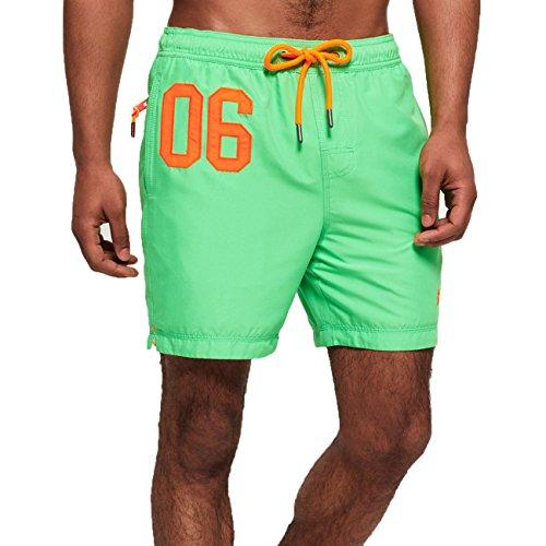 Superdry Badeshorts Herren Waterpolo Swim Shorts Deck Bright Green, Größe:S