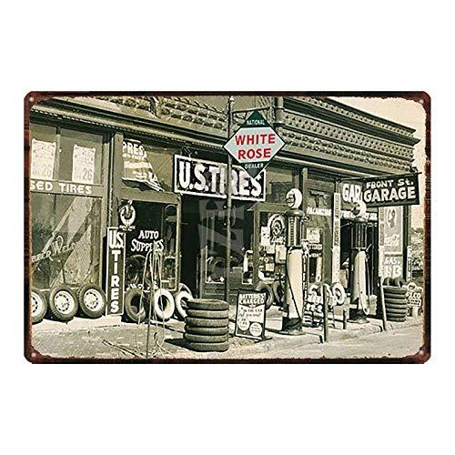 Yycsqy IJzeren schilderij tinnen metaal schilderij vintage metaal wandkunst metalen plaatjes plaques motorolie auto plastic metaal vintage shabby muur huis kunst auto banden winkel garage tankstation decor
