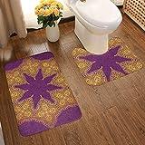 Juego de alfombras de baño de franela con diseño de abanicos artísticos y suaves, con diseño de mandala tradicional marroquí, colores reales, místicos, símbolo de cosmos étnico, antideslizante, alfombra de baño lavable, 2 piezas