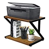 Desktop Printer Stand with 2 Tier Wood Storage Shelves, Rustic Office Desk Storage Organizer Shelves, Home Printer Stand with Adjustable Anti-Skid Feet, Printer Table for Fax Machine, Scanner, Files