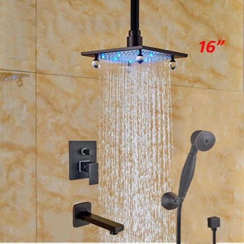 Galvanik Retro Wasserhahn 16  Wandmontage Niederschlag LED-Farbe aus massivem Messing Badezimmer Dusche Wasserhahn ORB Mischbatterie, Klar