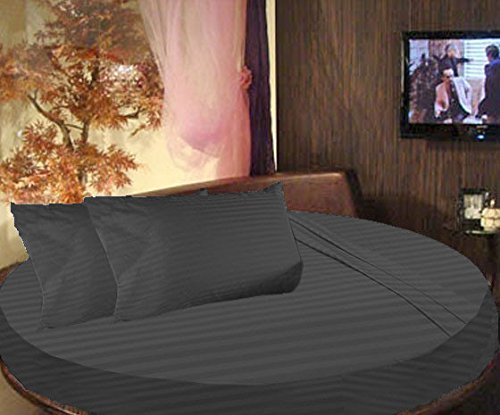 SCALABEDDING 100% algodón egipcio diseño a rayas cama redonda 3piezas Sábana bajera y fundas de almohada 800TC Reina 84'Diámetro gris oscuro
