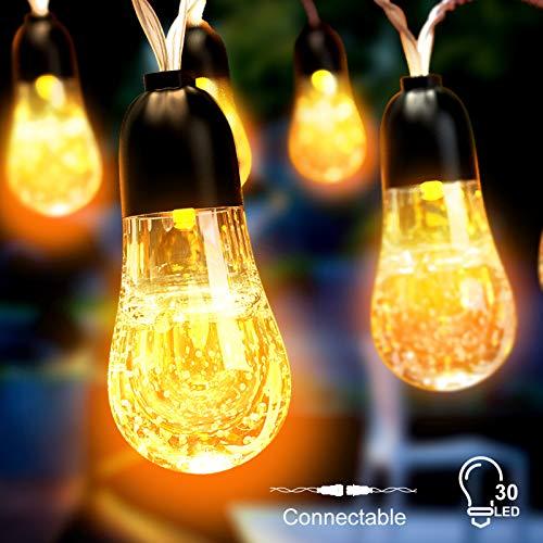 Babacom Luci Natale Esterno, Impermeabile 30 LED Cristallo Catena Luminosa Esterno, Collegabile 8 Modalità Stringa Luci LED, Decorative per Interno Festa, Matrimonio, Tenda, Giardino (Giallo Caldo)