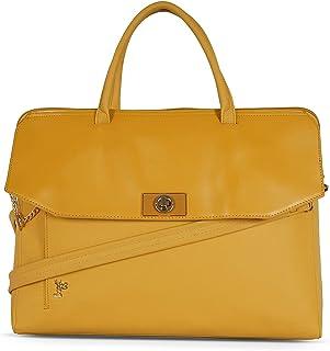Baggit Spring-Summer 2021 Faux Leather Women's Satchel Handbag (Yellow) (Jumble)