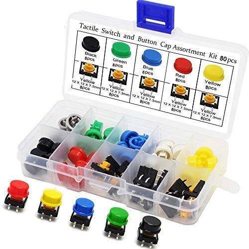 RUNCCI-YUN Momentary Tactile Push Button, 12 x 12 x 7,3 mm, Micro Momentary Drucktastenschalter, 4 Pin Mikroschalter, oberflächenmontierte Schaltplatte, mit Kappe für Arduino, 80 Stück