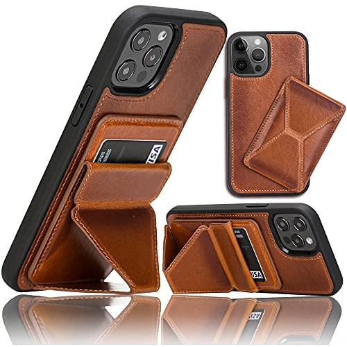 Bayelon Maggy Schutzhülle für iPhone 12 Pro Max 17 cm (6,7 Zoll) – abnehmbarer Kartenhalter und Ständer Funktion (Rustic Tan)