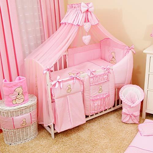 17tlg. Baby Bettwäsche-Set Babybett Komplett-Set Kinderbett Kinderbettwäsche für Babys und Kleinkinder (Rosa)