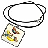 3dRose Florene Maria Merian Vintage Botanicals - Image of 1700s German Botanist Painting Butterflies Yellow Flower - Necklace with Rectangle Pendant (ncl_245070_1)