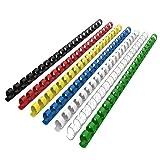 RAYSON - Canutillo de encuadernación (plástico, para 21 anillas, 100 unidades), color multicolor 6mm