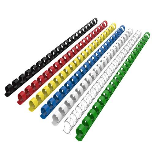 RAYSON - Canutillo de encuadernación (plástico, para 21 anillas, 100 unidades), color multicolor 10 mm