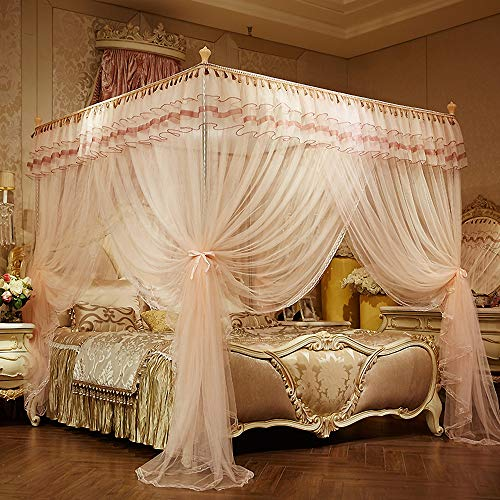 JQWUPUP Luxury Bed Curtains Canopy, Ruffle Tassel 4 Corner Post Mosquito Net, Bed Canopy for Girls Toddlers Crib Kids Adult, Bedding Décor (King, Peach)