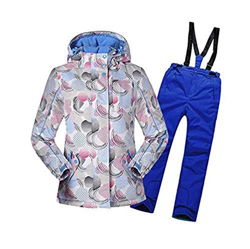 AZUOYI Skibroek voor kinderen, bedrukt, winterski-pak waterdicht, winddicht snowsuit snowboard set ski-jas skibroek set (jas + broek)