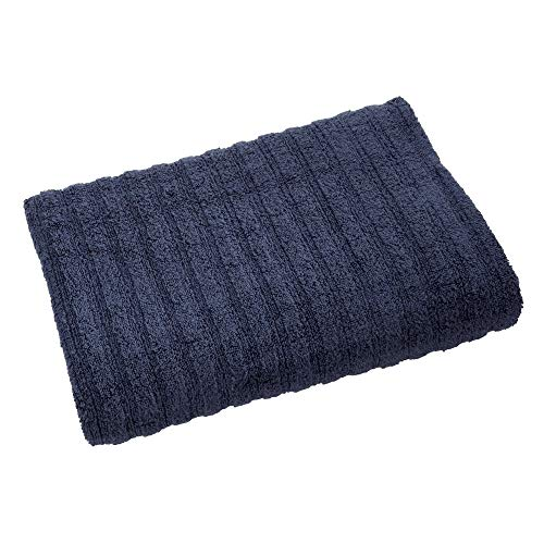 Price comparison product image iDesign Bath Towel,  Large Ribbed Guest Towel Made of 100 Percent Cotton,  Extra Soft Beach Towel for Shower,  Sauna and More,  Navy Blue