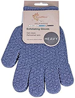 EvridWear Exfoliating Dual Texture Bath Gloves for Shower, Spa, Massage and Body Scrubs, Dead Skin Cell Remover, Gloves wi...