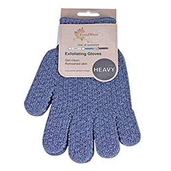 Evridwear Exfoliating Dual Texture Bath Gloves for Shower Spa Massage and Body Scrubs Dead Skin Cell Remover Gloves with hanging loop  1 Pair Heavy Glove