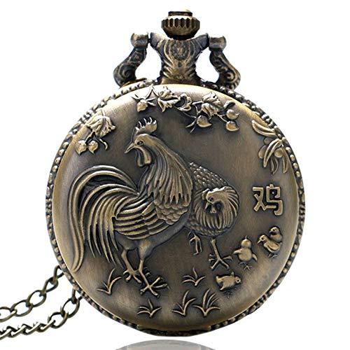 XVCHQIN Reloj de Bolsillo de Animales con Tema del Zodiaco Chino Vintage, Colgante, Regalo, Relojes para Hombres, Mujeres, Regalos, Reloj, Pollo