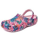 COMAJUMATO Zuecos para las mujeres verano EVA zapatos suaves cómodas sandalias planas zapatillas señoras jardín zapatos arco iris, beige (Flower), 40 EU