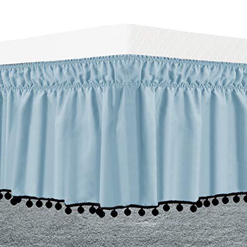 Naturoom POM-POM-BedSkirt-Queen/King Luxurious Fabric, Top-Knot Tassel Pompom Fringe Ruffle Skirt Around Style Elastic Bed Wrap-Wrinkle Resistant 15' Drop, Queen/King, Blue & Black Pom Poms