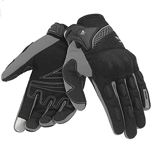 Guantes de Motocicleta para Hombre, Guantes de Carreras de Gant para Motocicleta, Guantes de Motocross, Guantes de Verano Transpirables para Motocicleta, Guantes de Dedo Completo-Grey Gloves-1-L