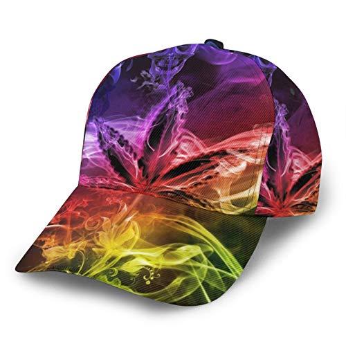 HARLEY BURTON Gorra de béisbol unisex impresa entera Trippy marihuana Split Smoke colorido ajustable empalme Hip Hop Cap Sun Hat Negro