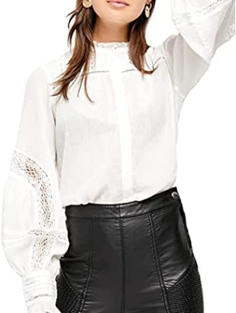 Free People Size L Emma Embroidered Button Down Top Ivory White