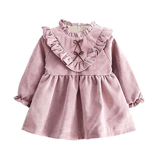 Ropa bebé Niñas bebé otoño Manga Larga Princesa Vestido (6-12 Mes, Púrpura)