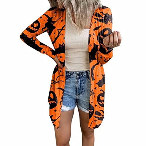 ZFQQ Chaqueta de Punto con Estampado Multicolor de Tema de Halloween para Mujer de otoño e Invierno
