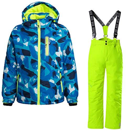Skijakkeset Kinder Unisex Skianzug Skijacke+Skihose Schilaufen Anzug Set Winddicht Wasserdicht Winter Skibekleidung