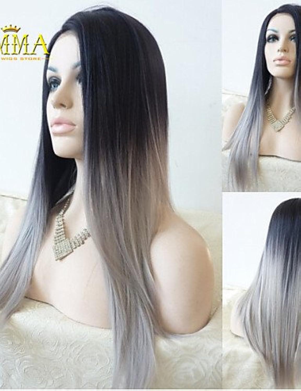 Fashion wigstyle Seide gerade Ombre Silber Grau Synthetische Lace Front Perücke Zwei Ton natur schwarz grau Haar Perücken für Frauen Emma Perücken auf Verkauf billige