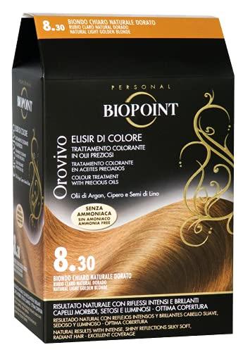 Biopoint Ligne Orovivo Coloration pour cheveux (couleur 8,30 – blond clair naturel doré) – 30 ml.
