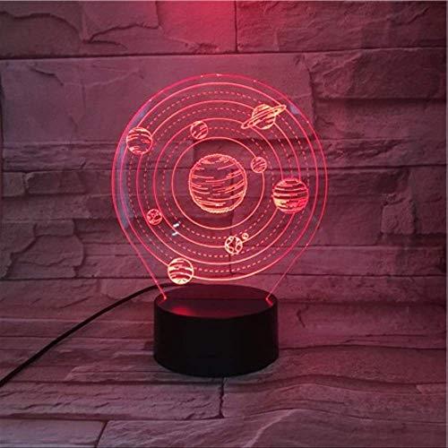 DFDLNL Neun Planeten im Sonnensystem 3D Lampe Batteriebetriebfür Raumdekor Led Nachtlicht Lampe Visueller Lichteffekt