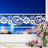 Yenhome 4' X 32.8' White Lace Transparent Floral Wallpaper Border Peel and Stick Wall Border for Bathroom Self Adhesive Wallpaper Decorative Removable Film Mirror Decor Border Decals Waterproof