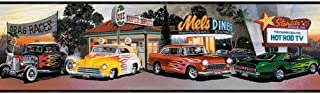 Mel's Diner Cars Wallpaper Border Chevy Ford Flames