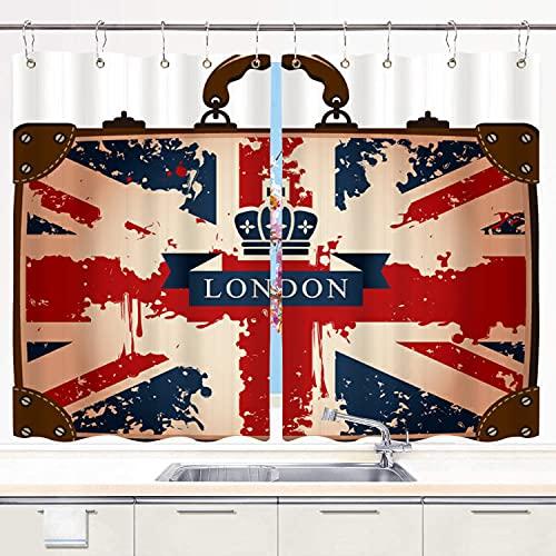 JISMUCI Cortina de Cocina Maleta de Viaje Vintage con Bandera británica Cinta de Londres e Imagen de Corona Juegos de Tratamiento de Ventanas Cortinas 2 Paneles con Ganchos,140x100CM