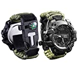 wejie Survival Bracelet Watch, Waterproof Emergency Survival Watches with Paracord, Whistle, Fire Starter, Scraper, Compass and Survival Gear for Men Women, 6-IN-1 Digital Outdoor Sports Watch (Green)