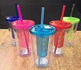 ML Pack 5 Vasos de Batidos infusiones de plástico sin BPA con Tapa y Pajitas - Bebidas heladas y frías Doble Pared Envase Transparente 710ml