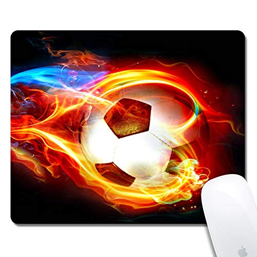 iNeworld Mouse Pads Rectangle Flame Soccer Thick Keyboard Mouse Pad Non-Slip Nature Rubber Mouse Pad for Gaming Office Working Home Mouse Mat(9.45'×7.87'×0.12')
