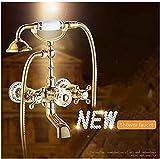 MangeooBadewanne Armaturen Luxus Gold Messing Bad Armatur Mixer wandmontierten Handbrause Kopf Kit Dusche Wasserhahn Einstellung tippen Sie auf