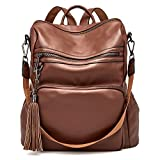 Backpack Purse For Women Fashion Leather Designer Travel Large Ladies Shoulder Bags with Tassel Brown