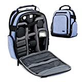 USA Gear カメラバッグ・リュックタイプ・内装カスタマイズ対応 USA Gear Customizeable Camera Backpack 一眼レフ・ミラーレス グレイ 対候性素材 GRULUBK100GYEW (Blue)