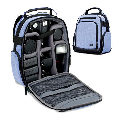 USA Gear DSLR Kamerarucksack, Kameratasche, Kamera Fotorucksack für Spiegelreflexkamera mit Kundengerechten Zubehörteilern und Rückenstütze - Blau