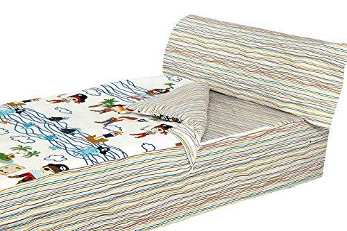Montse Interiors - Schlafsack-Set - Bettwäsche für Kinder - Piraten-Motiv - Design 'Caribe' - Deckenbezug 90 x 195 cm + Kissenbezug 110 x 45 cm + Spannbettlaken 90 x 195 cm