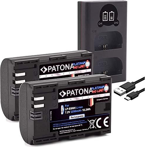 PATONA Platinum (2X) Ersatz für Akku Canon LP-E6NH - Mini 18606 LCD DUAL Ladegerät (Eingang USB-C & MicroUSB)