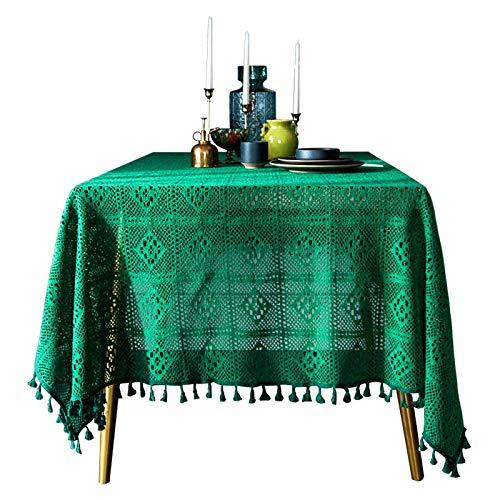 RUIXIANG Sen - Mantel de Crochet Cuadrado con Borla para Sala de Estar, Mesa de té, Simple y versátil, Crochet Verde con Borla (Mantel), 140 x 200 cm
