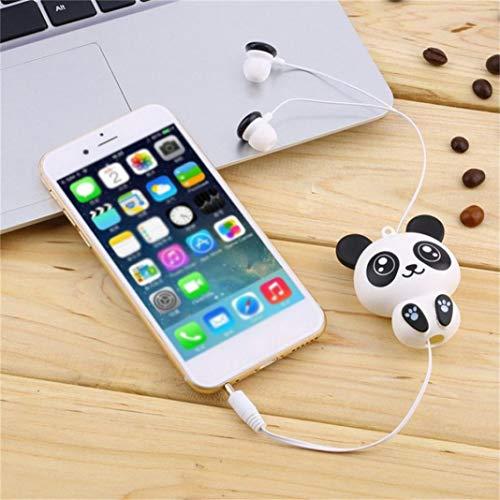 KingbeefLIU Auriculares y Auriculares Bluetooth,Auriculares con Cable de Dibujos Animados Panda Auriculares retráctiles Manos Libres Auriculares en la Oreja - Panda